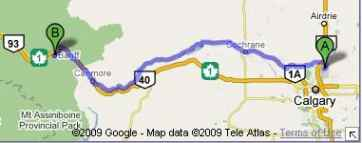 Calgary to Banff Map HWY 1A