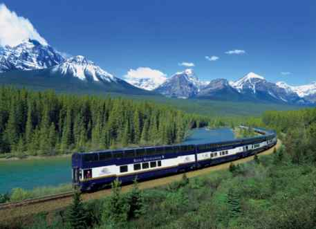 Rocky Mountaineer By Bow River at Lake Louise